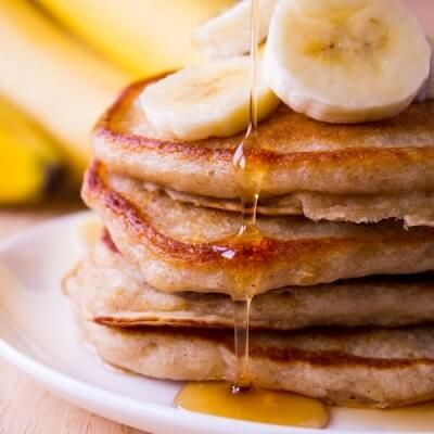 Banana Pancakes. Light & fluffy, these banana pancakes are the perfect combo of banana bread & buttermilk panckes. Start your morning with this easy recipe!