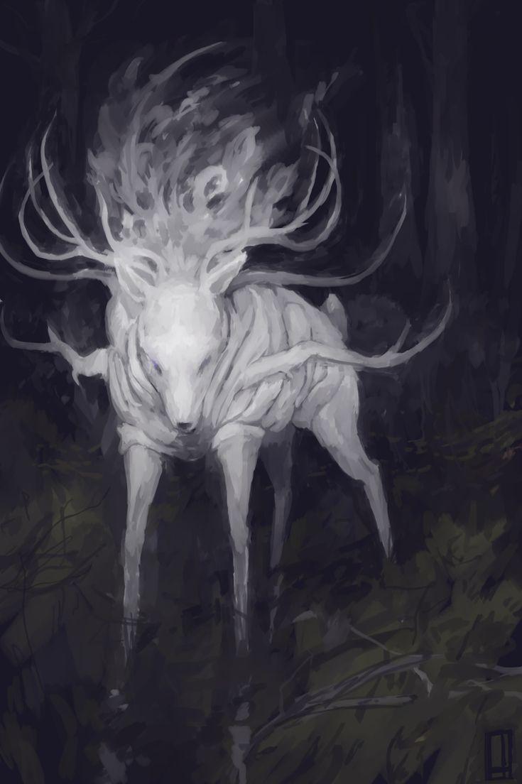 Anhangà, le cerf qui protège le gibier Anhangà, qui apparaît sous la forme d'un cerf blanc aux yeux de feu, est la divinité protectrice  du gibier pourchassé par les Indiens. Quand ceux-ci massacrent le gibier en trop grand nombre,  Anhangà les châtie. C'est aussi le dieu des cauchemars.
