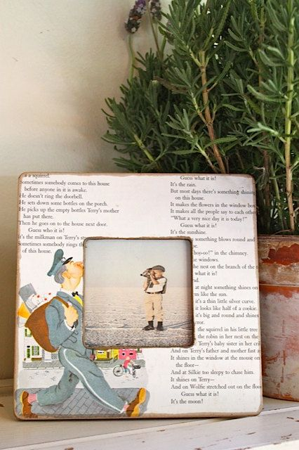 Vintage up cycled children's book picture frame by mysweetsavannah, $16.00. What a great idea!