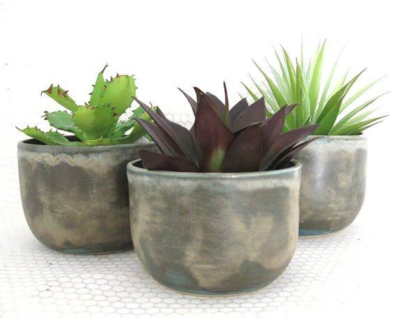 Ceramic Succulent Planter Set  Set of 3  Concrete Look