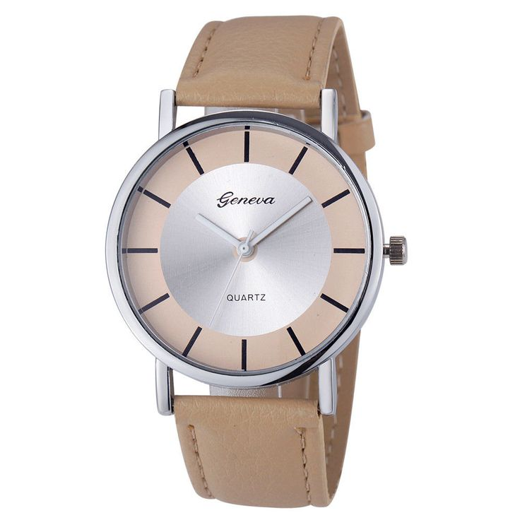 Evenig Classy Dress Pu Leather Band Beige Wrist Gift silver Face Teen Watch #Unbranded #DressFormal