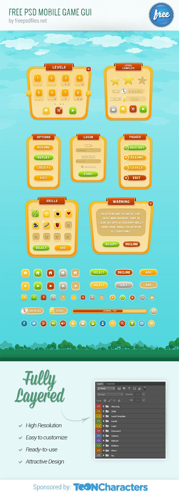 Free psd mobile game GUI that can be used to make a fun application with a clean and fresh look. The set includes any web element you could possible need to make a 2D mobile game. Go ahead and grab the kit now for free! Continue reading →