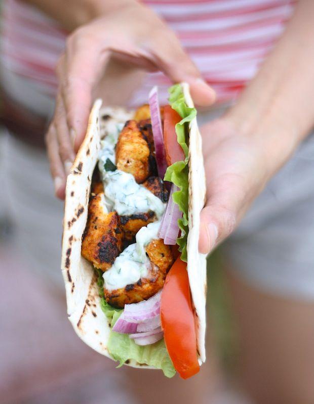 Tandoori Chicken Wrap (using our handcrafted Tandoori Seasoning) with a Mint-Cucumber Raita yogurt sauce. Campfire or grill recipe. By SeasonWithSpice.com