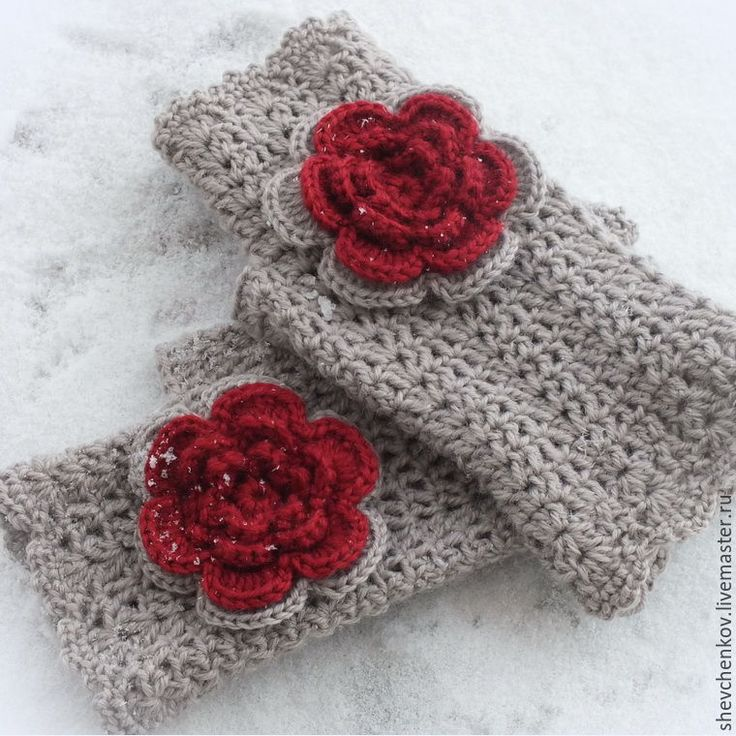 """Купить Митенки """"Розовый венок"""" вязаные - митенки, теплые митенки, перчатки без пальцев"""