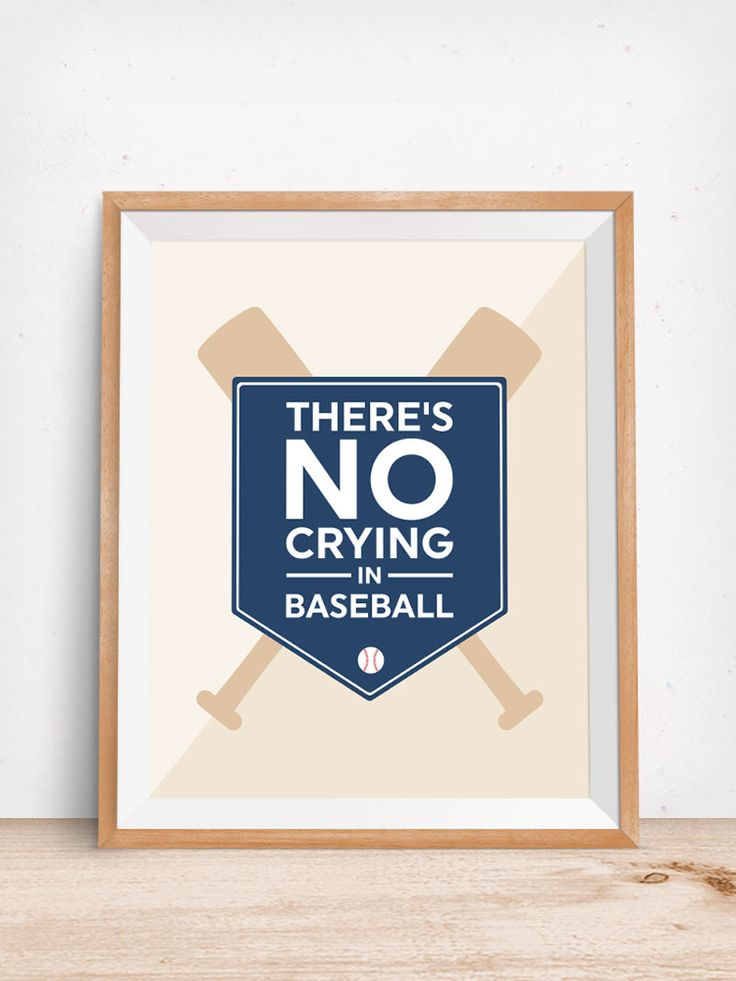 Theres No Crying in Baseball | Come download this free printable wall art to decorate your little boys nursery or bedroom instantly!