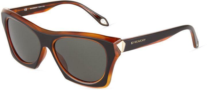 Givenchy Faceted Plastic Rectangle Sunglasses, Black/Havana - $99.50