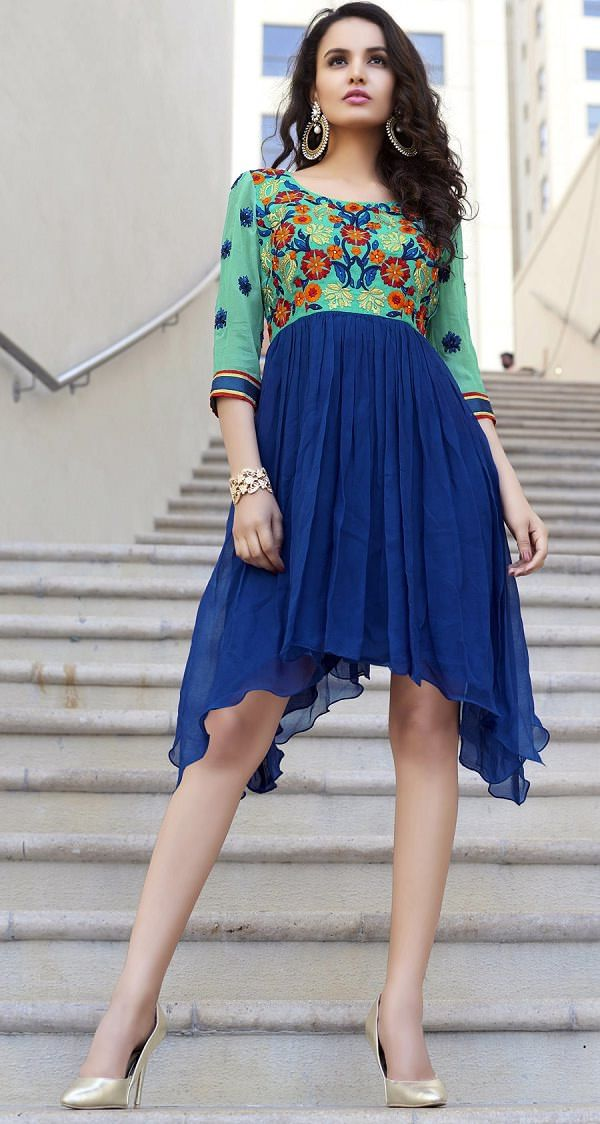 Trail Cut Kurti. Read more http://fashionpro.me/kurtis-can-wear-without-leggings
