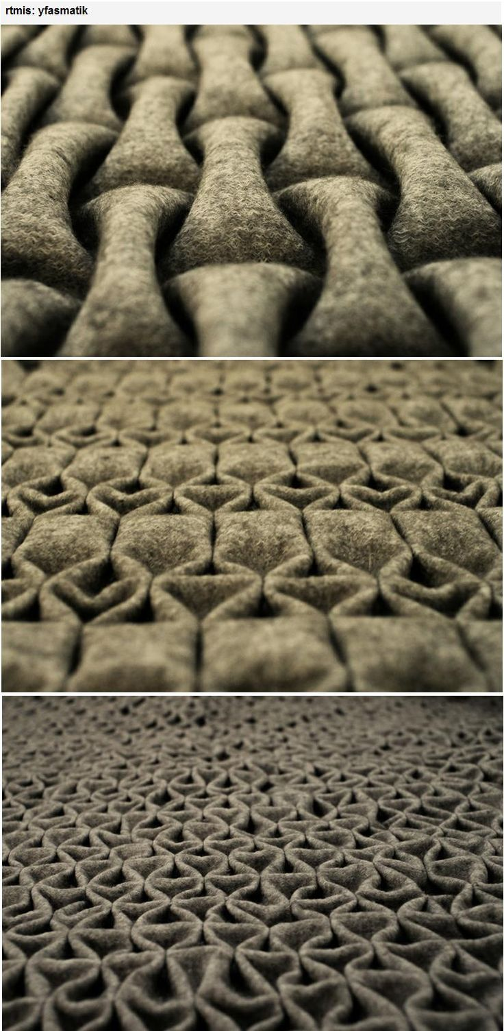 Berlin-based artist 'rtmis' has created a new felt folding technique. A different profile for each side allows the combination of two different surface structures to integrate in one layer of material. It is flexible, and stable, so that it can be used for interior and furniture design or as a material in the fashion industry. Made of 100% wool. Nominated for leinemann foundation (hfbk) design award and was exhibited at museum for arts and crafts in Hamburg.