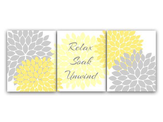 Bathroom Wall Art, Relax Soak Unwind, Yellow and Gray Bathroom Decor, Modern Bathroom Art, Set of 3 Bath Art Prints - BATH28