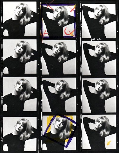 A Catherine Deneuve contact sheet. Photographer: David Bailey, 1965.