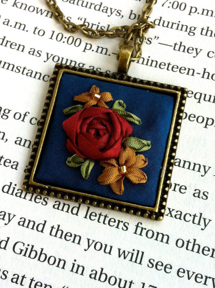 """Embroidered Pendant Necklace - 1.25"""""""