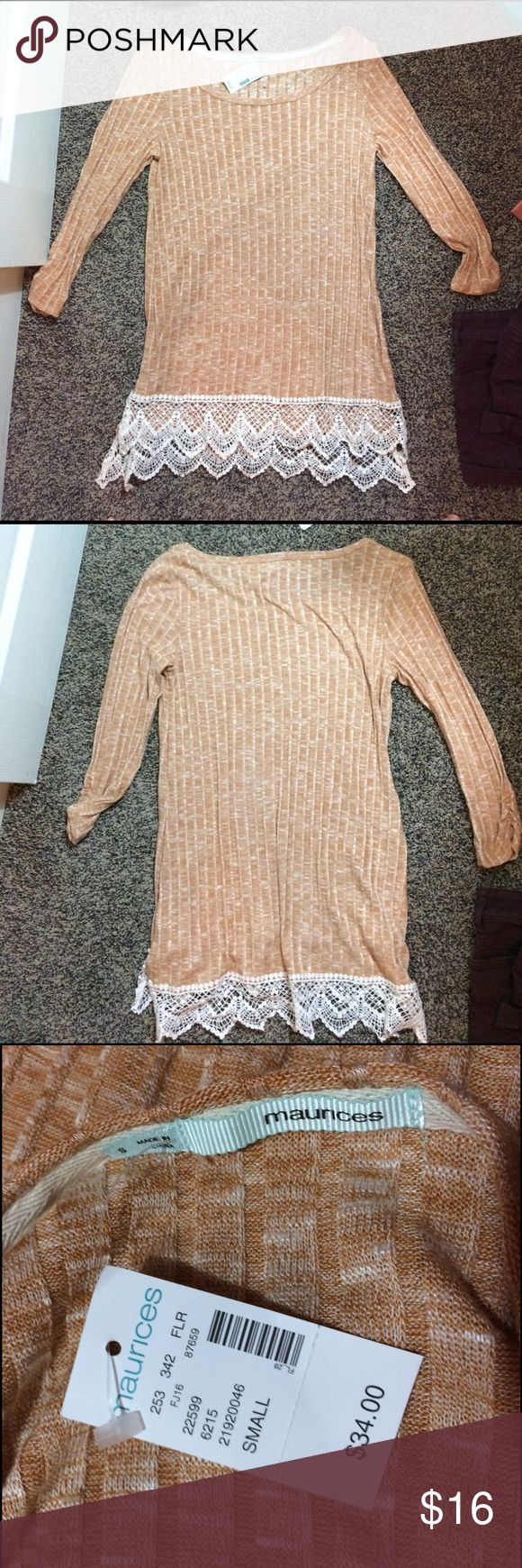 Never Worn Peach Colored Tunic from Maurice's A cute and long peach top from Maurice's in Women's size S. Too big for me and lost the receipt! Never worn! Maurices Tops Tunics