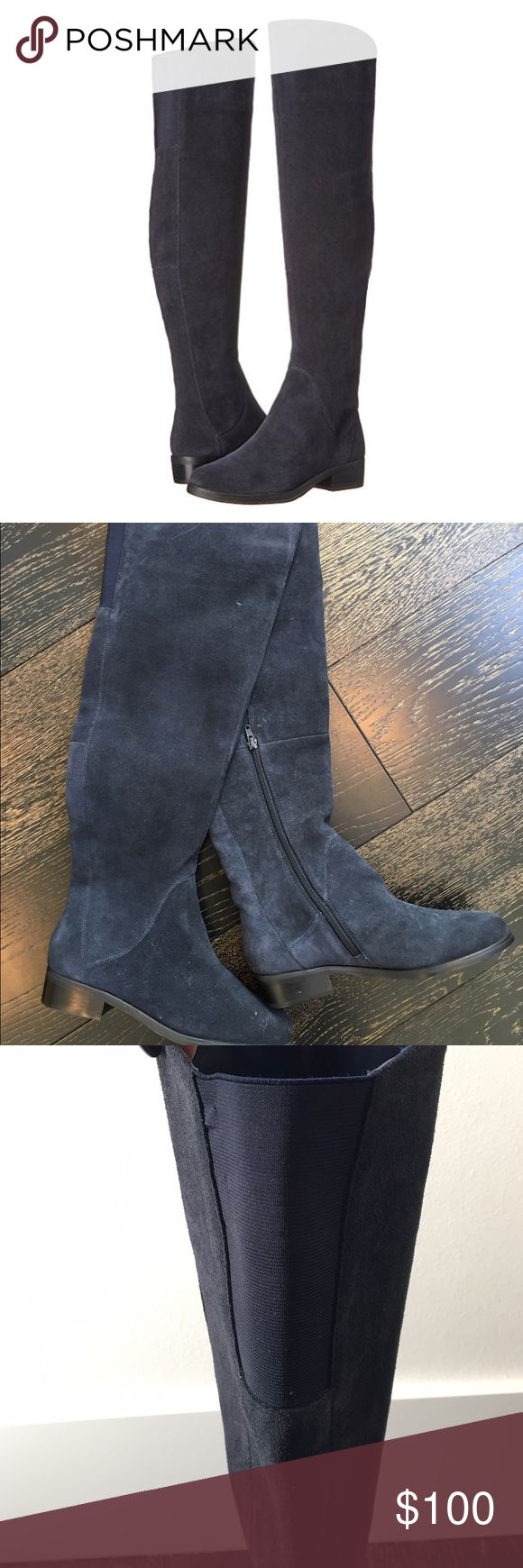 """STEVEN by Steve Madden Over The Knee Boots 'Salley' over the knee riding boot by Steve Madden in beautiful navy suede. 16.5"""" opening circumference with stretch panel on back of knee. Comfortable and stylish-perfect for winter fashion plus they've never been worn! Steven by Steve Madden Shoes Over the Knee Boots"""