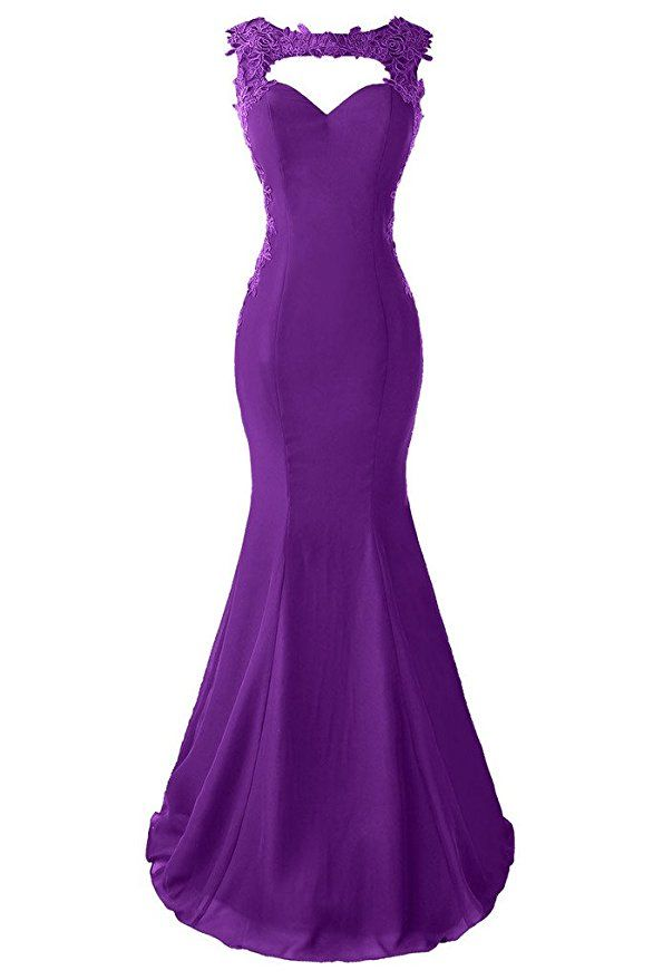 a7fe65ef584d Topdress Women's Mermaid Prom Dress Lace Appliques Sheer Back Evening Gowns  Purple US 2