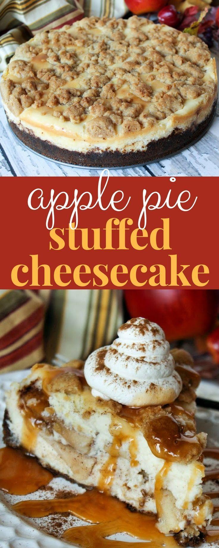 Apple Pie Stuffed Cheesecake is the ultimate fall dessert! #cheesecakerecipe