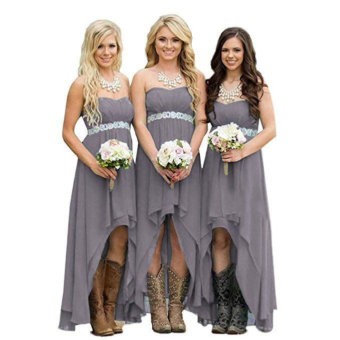 missgotti High Low Chiffon Long Bridesmaid Dresses Sashes Gray HED060GY SIZE 16