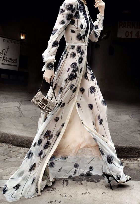 black and white patterned maxi