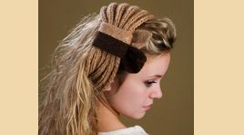 Hairband with ribbon knitted with camel hair yarn