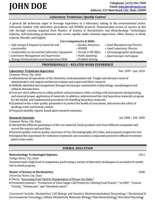 Click Here to Download this Laboratory Technician Resume Template! http://www.resumetemplates101.com/Biotechnology-resume-templates/Template-447/