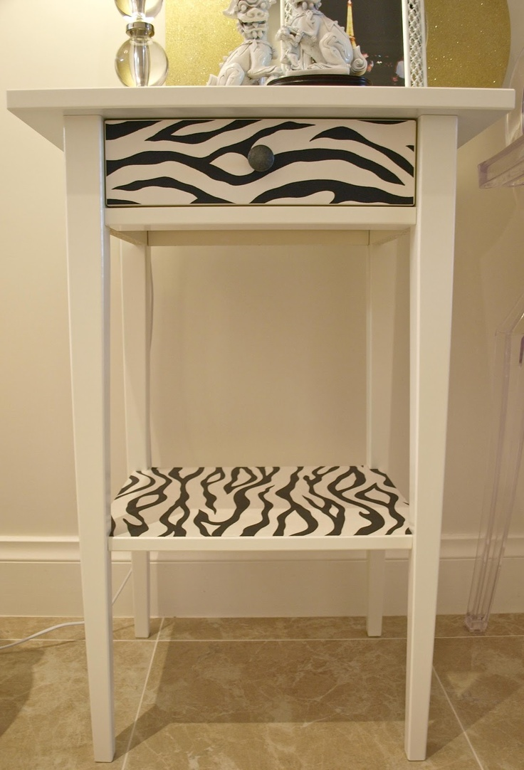 Ikea hack of hemnes bedside table using wallpaper. It's now a funky side table. via Luxe Addition