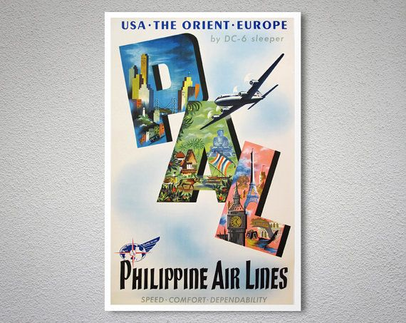 Philippine Air Lines Vintage Travel Poster Poster Print