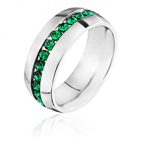 Stainless Steel May Birthstone Emerald CZ Eternity Band Ring