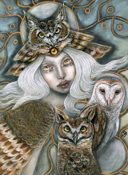 Owl Harpy mythological goddess birds Original by MoonSpiralart, $275.00