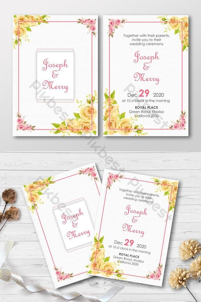 Yellow Color Wedding Invitation Template With Golden Frame Invitation Card Template Ai Psd Free Download Pikbest Wedding Invitation Templates Wedding Invitations Invitation Card Format