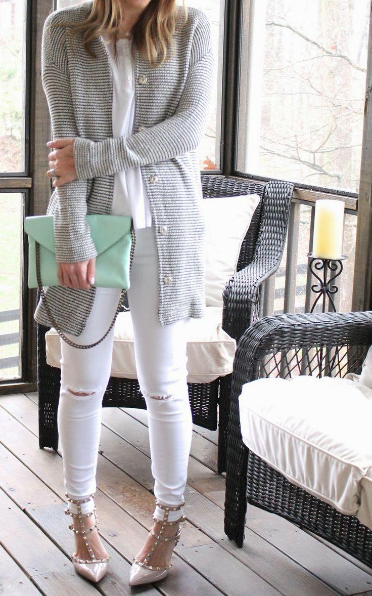 """TiffanyD: My long """"yummy"""" sweater.   (mint bag, Rockstud heels, white denim)"""