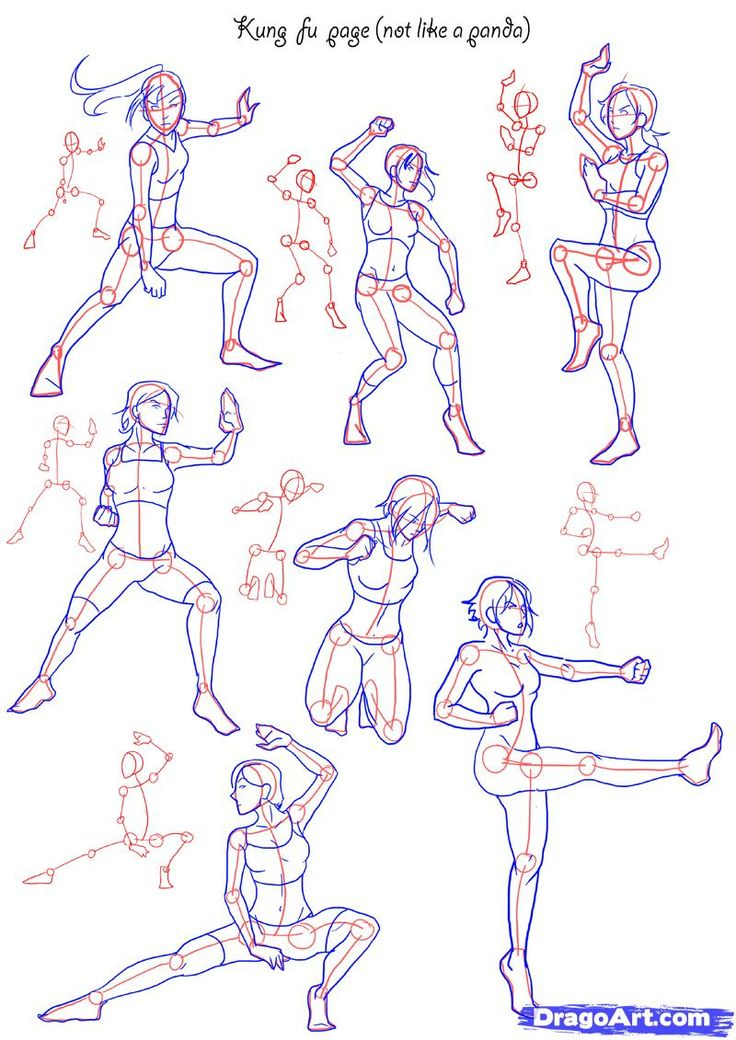 How To Draw Anime Poses | How to Draw Fighting poses, Step by Step, Figures, People, FREE Online ...