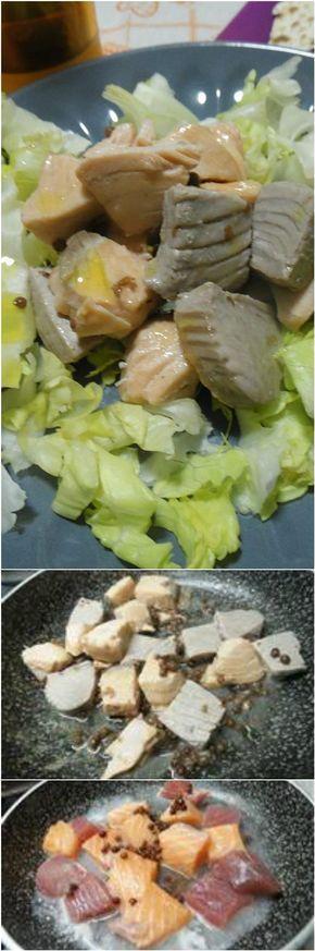 Spezzatino tonno e salmone, in versione light, ma altrettanto buono! #spezzatino #tonno #salmone #light #ricettegustose