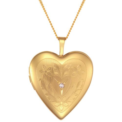 """14kt Gold Filled with Diamond Heart Pendant (10175D) My Mum always jokes with me that """"she left her heart in San Francisco"""" I would love for her to wear this heart pendant while dipping her toes in the Pacific ocean again :) #Iwantthisformom"""