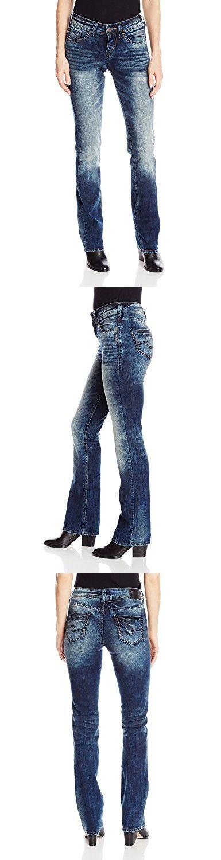 Silver Jeans Women's Suki Mid Rise Slim Medium Wash Bootcut Jean, Dark Acid Wash, 26x33