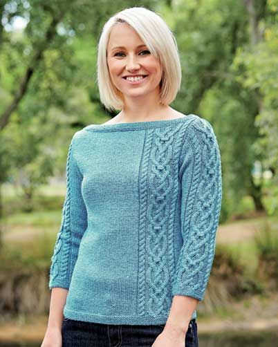 PT8362 - Ladies Boat Neck Jumper with Offset Cable - 8 Ply