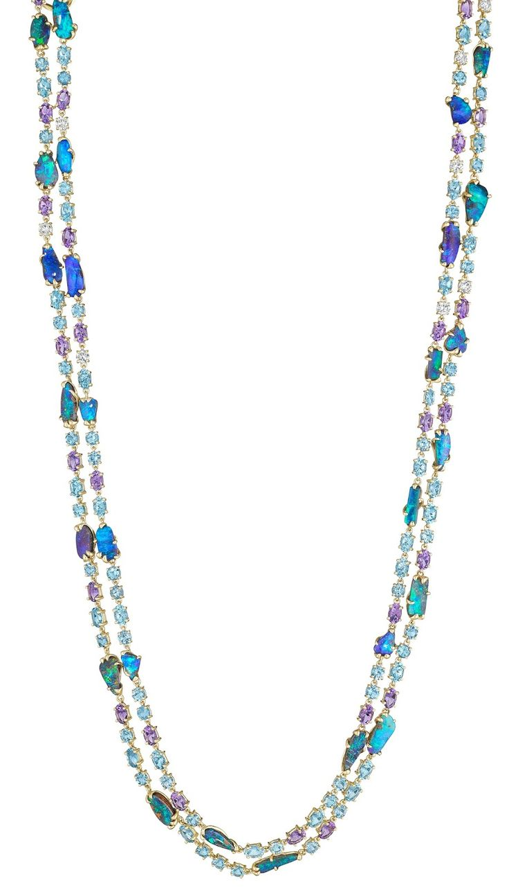 Necklace from the Mimi So ZoZo opal collection with opal, amethyst, aquamarine, diamond and blue topaz.  Via Diamonds in the Library.
