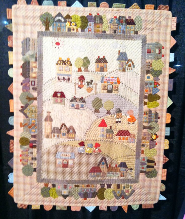 """""""Country Village"""" by Fumiko Fujiwara for The Quilt Festival Exhibit of Japanese quilts inspired by the work of Reiko Kato. Whole Quilt"""