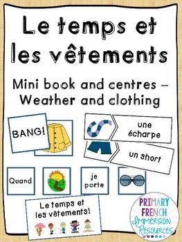 Weather & clothing book and centres. Working on more complex sentence structures - connecting the type of weather to different clothing and activities.