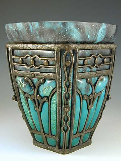 Daum & Majorelle Art Nouveau Glass by Daum, the ironworks by Louis Majorelle Vase c. 1930. France.