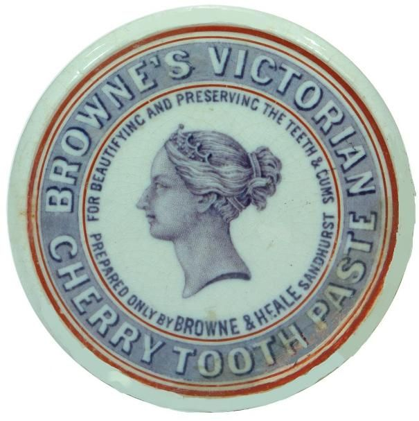 BROWNE'S VICTORIAN CHERRY TOOTH PASTE FOR BEAUTIFYING AND PRESERVING THE TEETH  & GUMS PREPARED ONLY BY BROWNE & HEALE SANDHURST CERAMIC POTTERY LID