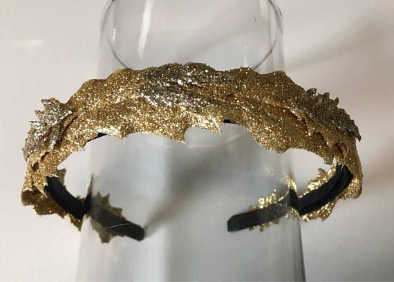 Gold leaf headband Christmas holiday women gift unique glitter sparkle queen crown princess tiara  #gold #goldleaf #christmas #giftsforher #womens #queen #princess #tiaras #crowns #holiday #holidayhair #christmasaccessories