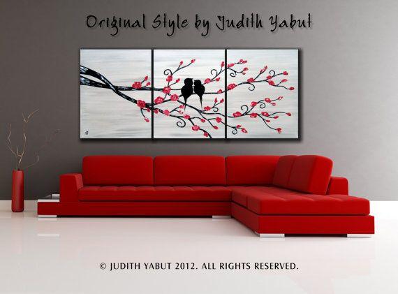 Love Birds HUGE 54x24 Landscape Acrylic Painting on by studiox26, $245.00