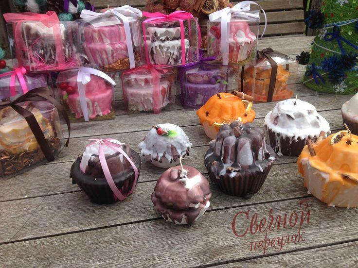 Свеча кекс, Handmade, beauty, pink, fruitcake, berries, свечи