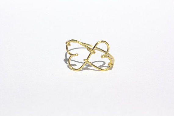 Gold Infinity Heart Wire Ring