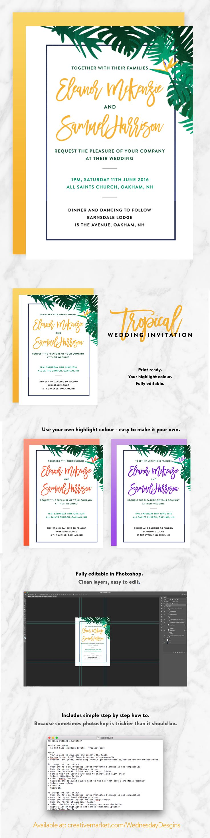 Such a fun, fresh wedding invite. Super easy to customise - perfect for DIY Weddings. Change the colour to suit your theme, save + print! Easy peasy.