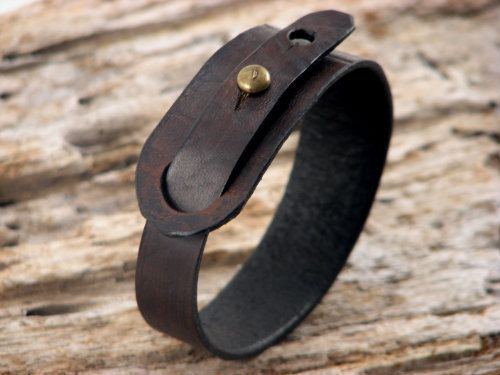 FREE SHIPPING.Couples leather bracelet. Handmade dark brown leather, cuff , matching  bracelets. Set of  two, his and hers bracelet. via Etsy