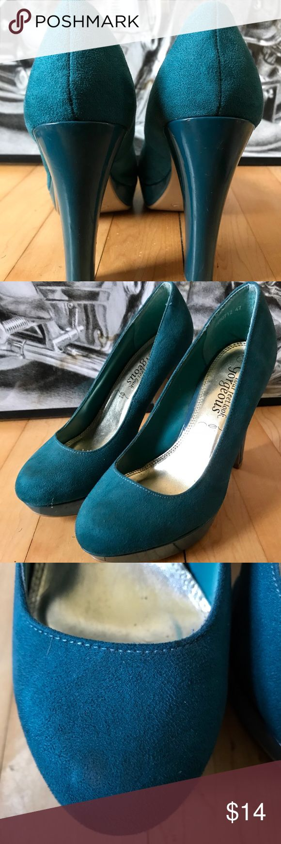 Teal High Heels Purchased these in London a few years ago and they're the perfect pop of color to add to a variety of ensembles. Only worn a few times to weddings and parties. 4 inch heel, 1 inch platform, with a suede-type finish. Just a minor spot on the right toe, but super faint (see photo). They're a size 6, but run a little narrow. Shoes Heels