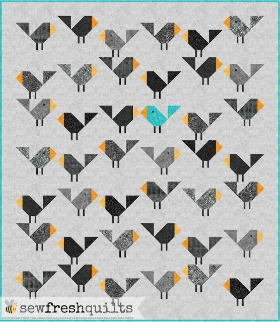 Welcome to the Let's Bee Social!  This past week was a busy one. Got a lot of piecing and pattern writing done. But not much quilting.   I have been sharing progress pictures of myBlack Birdsbaby qu