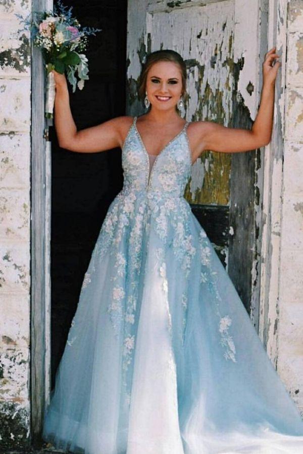 444e29206eaa4 prettiest light sky blue long prom dresses, formal senior prom dresses with  lace, spaghetti