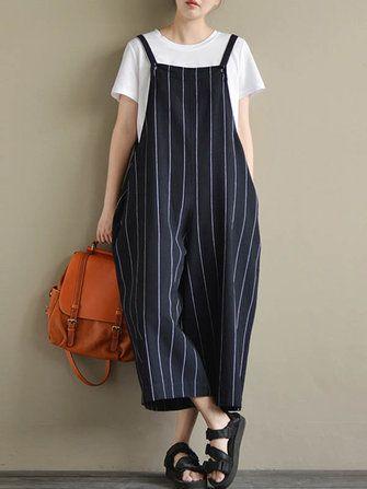 Only US$27.59 , shop M-5XL Striped Wide Leg Jumpsuit at Banggood.com. Buy fashion Jumpsuits & Playsuits online.