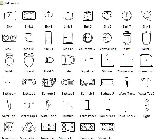 Bathroom Symbols | Archi Plans | Architecture symbols, Floor plan drawing, Architecture plan